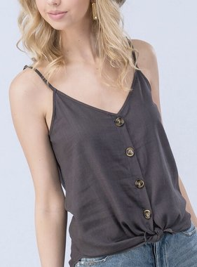 Charcoal Button Up Tank Top