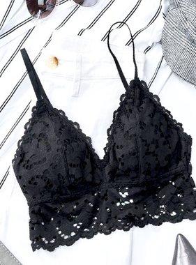 Lila Chunky Floral Black Bralette