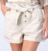 Natural Button Cuffed Shorts