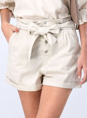 Natural Button Cuffed Shorts