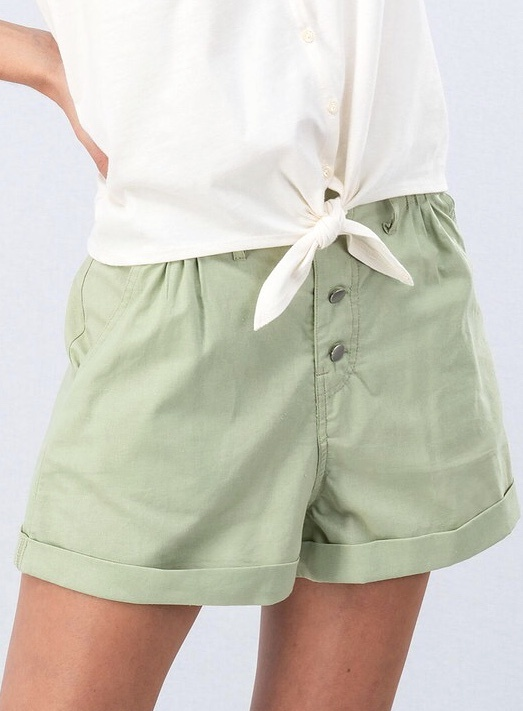 Light Olive Button Cuffed Shorts