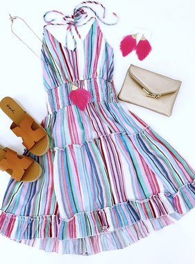 Blue/Pink Multi Stripe Cinched Waist Dress