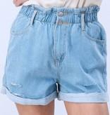 Denim Vintage Wash Distressed Denim Shorts