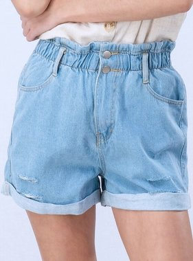 Denim Vintage Wash Distressed Denim Shorts