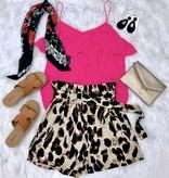 Leopard Paper Bag Shorts With Belt