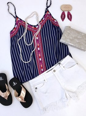 Navy Multi Color Embroidered Tank