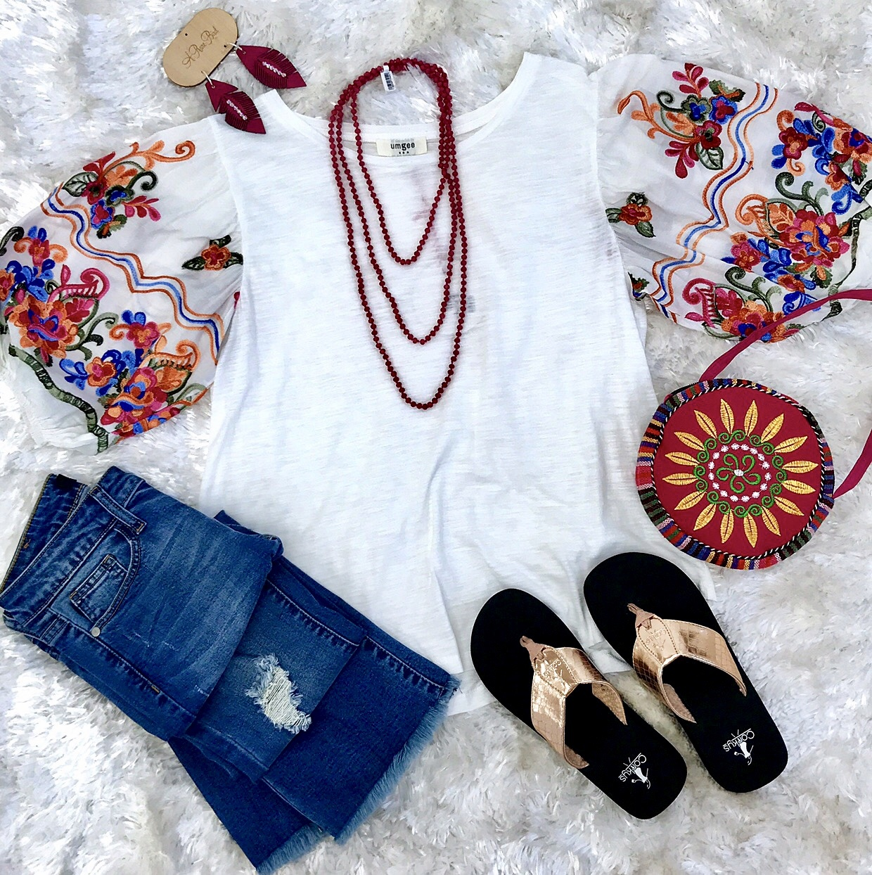 White Top With Floral Puff Sleeve