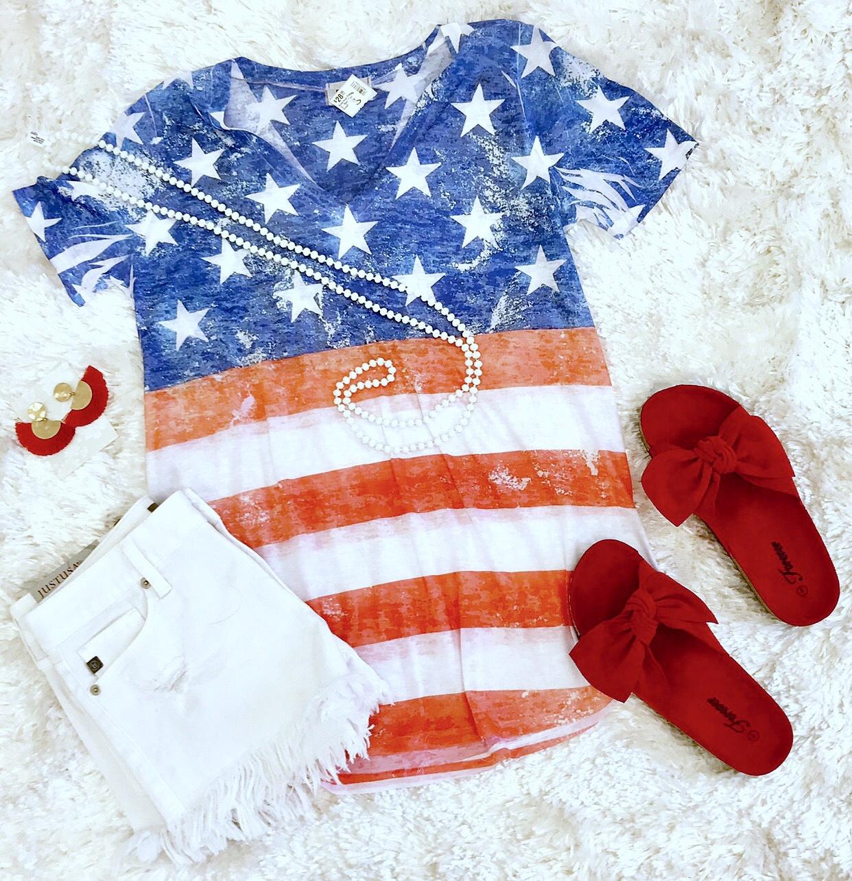 American Flag V-Neck Top