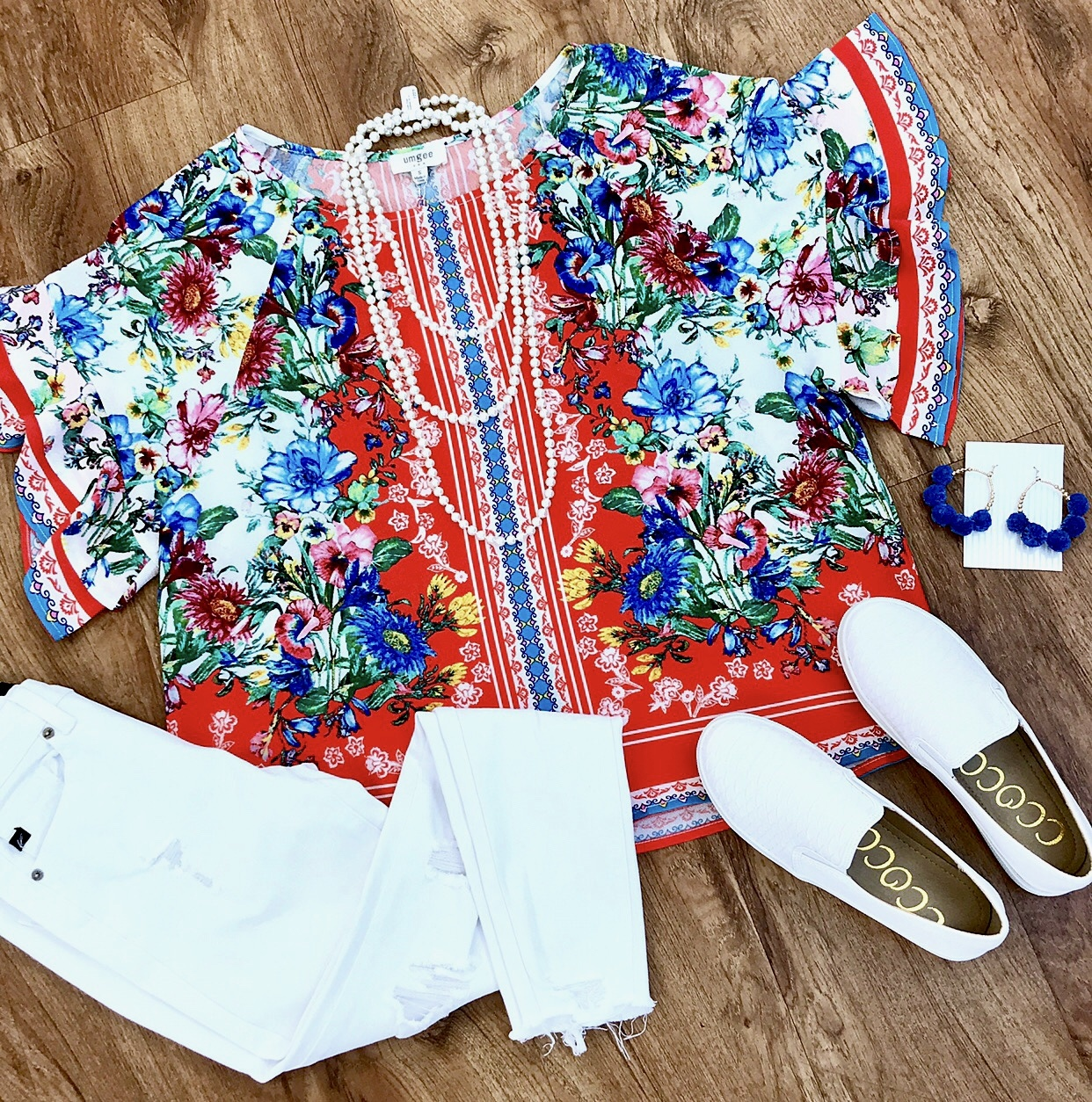 Tomato Red Floral Scarf Print Layered Sleeve Top