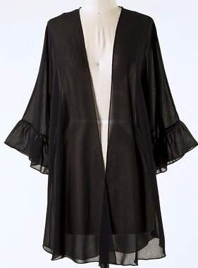 Black Bell Sleeve Kimono