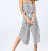 White Striped Sleeveless Tube Top Jumpsuit