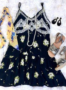 Navy Floral/Lace Spaghetti Strap Dress
