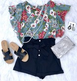 Cool Grey Mix Floral Print Short Ruffle Sleeve Top