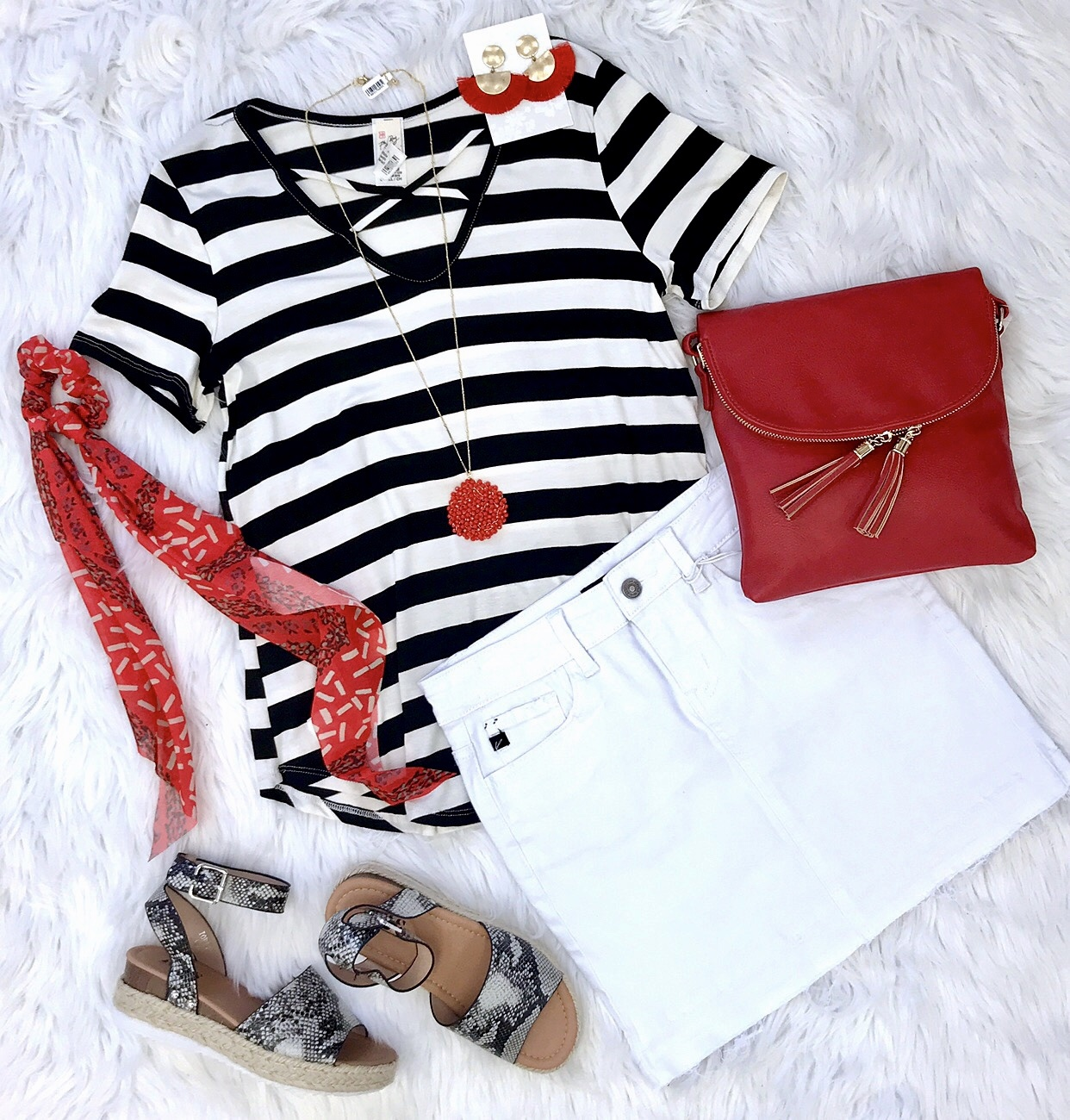 Black and White Striped Top with Criss Cross Detail