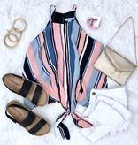 Peach Multi Striped Cami Tie Front Top