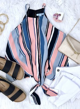 Peach Multi Striped Cami Tie Front Top