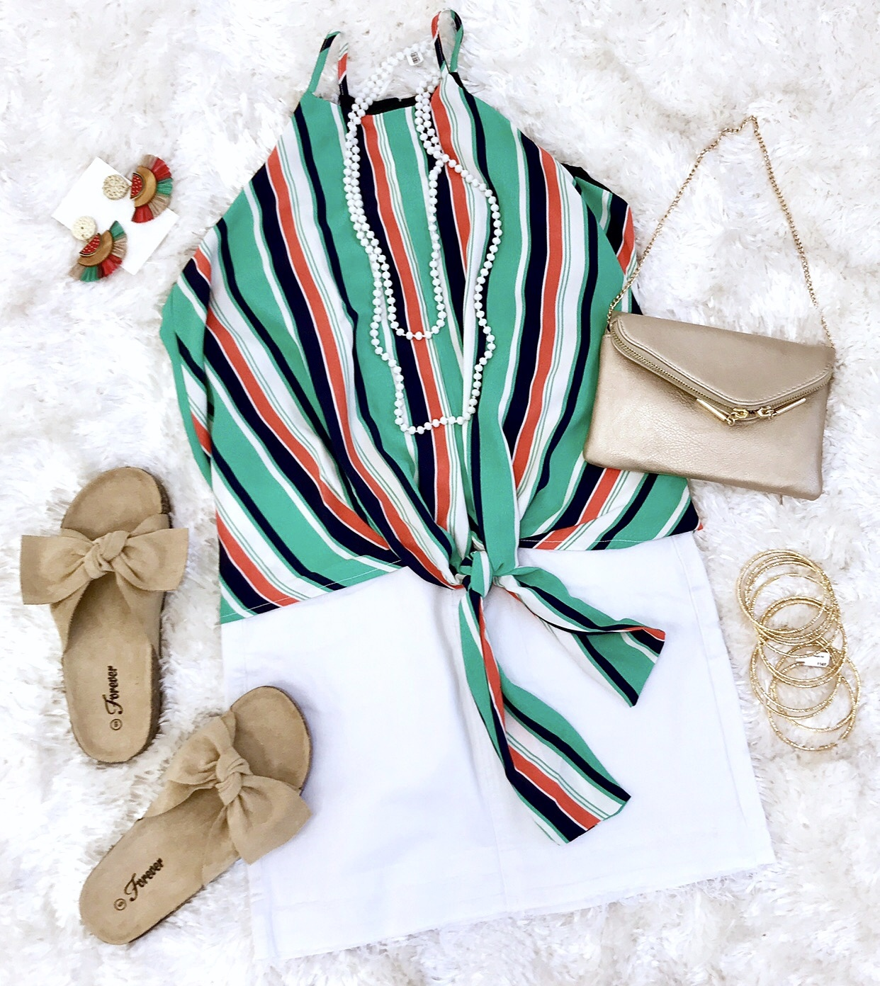 Green Mix Multi Striped Cami Tie Front Top