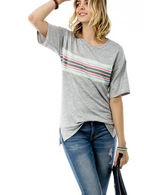 Grey SS Top with Striped Color Block