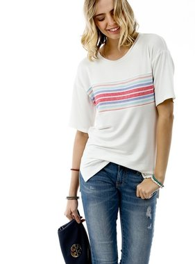 White SS Top With Striped Color Block