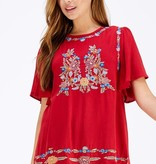 Burgundy Floral Embroidery Detail Top