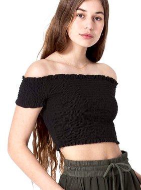 New Black Shoulder Crop Top