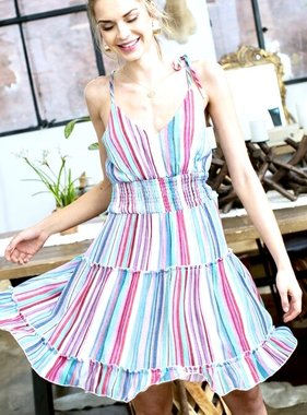 Blue/Pink Multi Stripe Cinched Waist Dress
