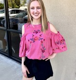 Pink Embroidered Cold Shoulder Puff Sleeve Top