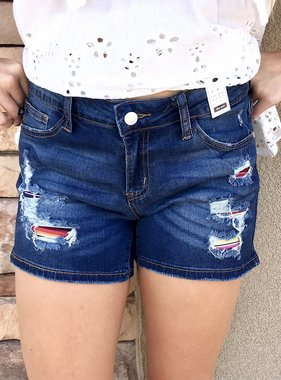 Judy Blue Serape Patch Short