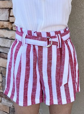 Red Striped Linen Tie Front Short