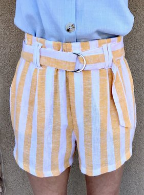 Yellow Striped Linen Tie Front Short