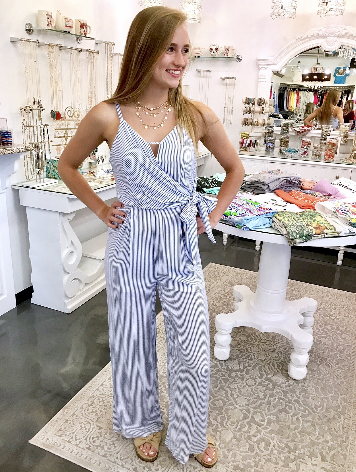 Blue Thin Striped Side Front Tie Jumpsuit