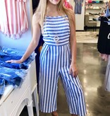 Denim Blue/White Striped Cropped Jumpsuit