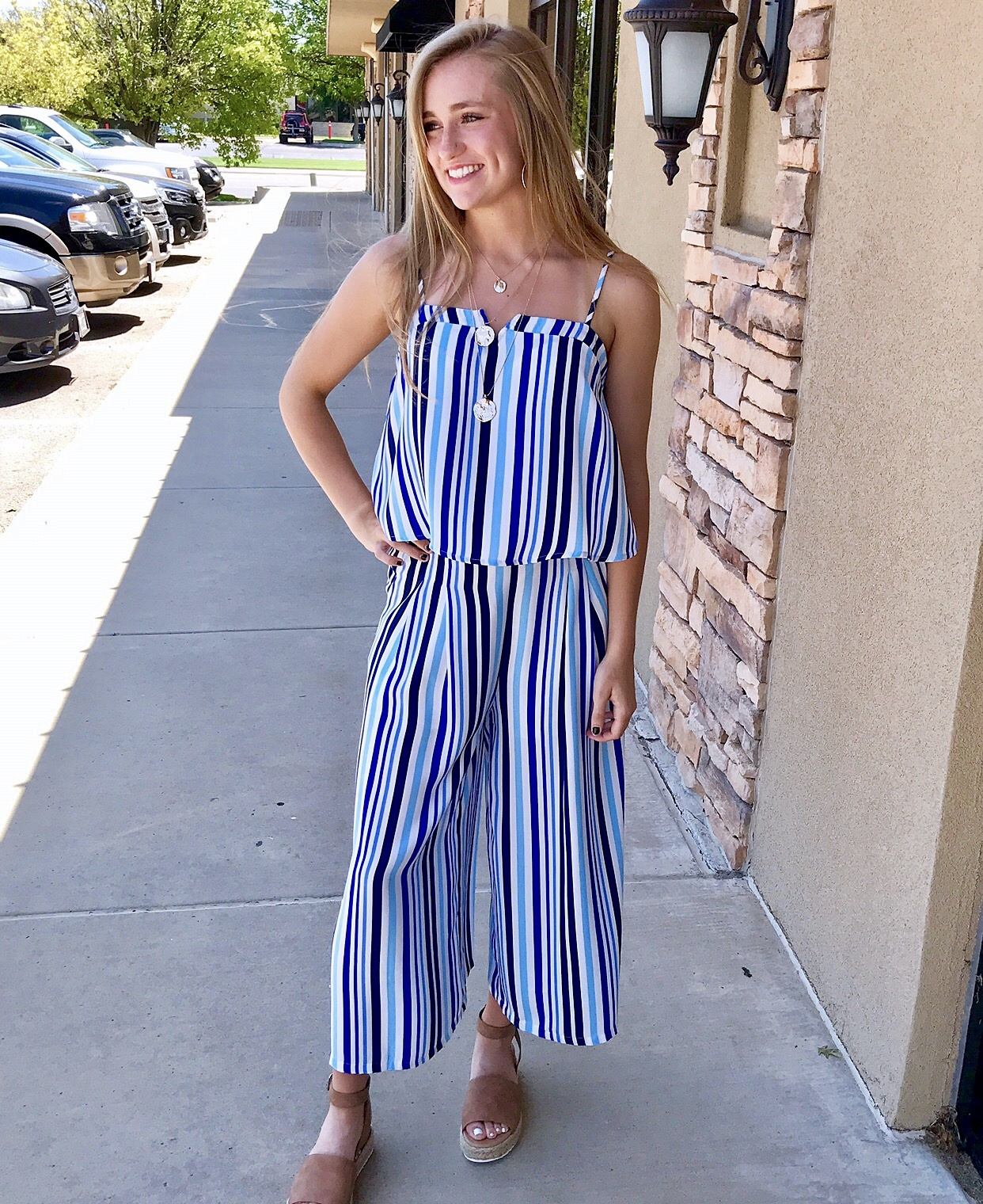 Navy/Blue Striped 2 Piece Set