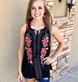 Black High Neck Embroidered Top