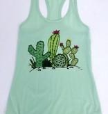 Mint Tank Top with Cactus
