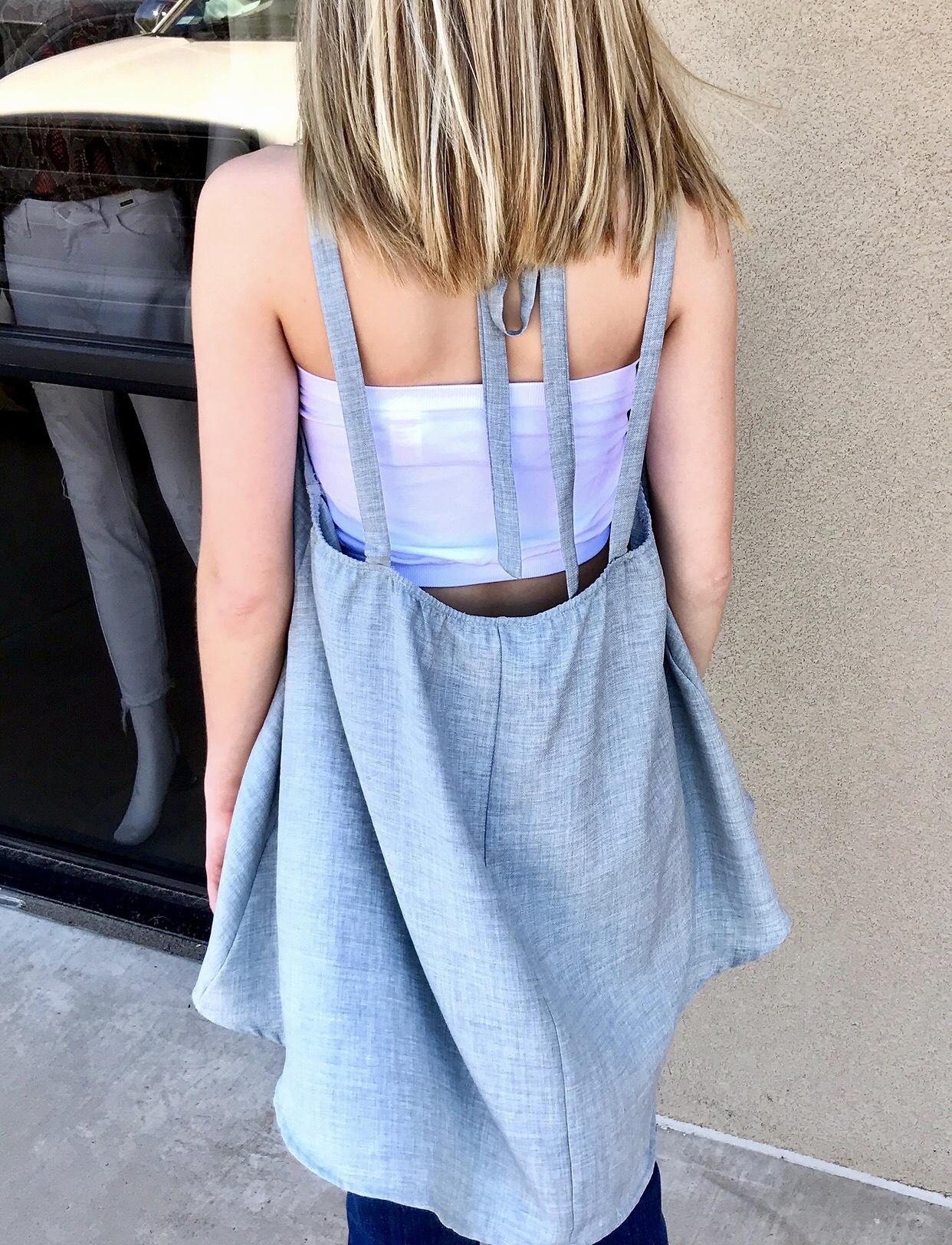 Blue Grey Washed Linen Halter Top