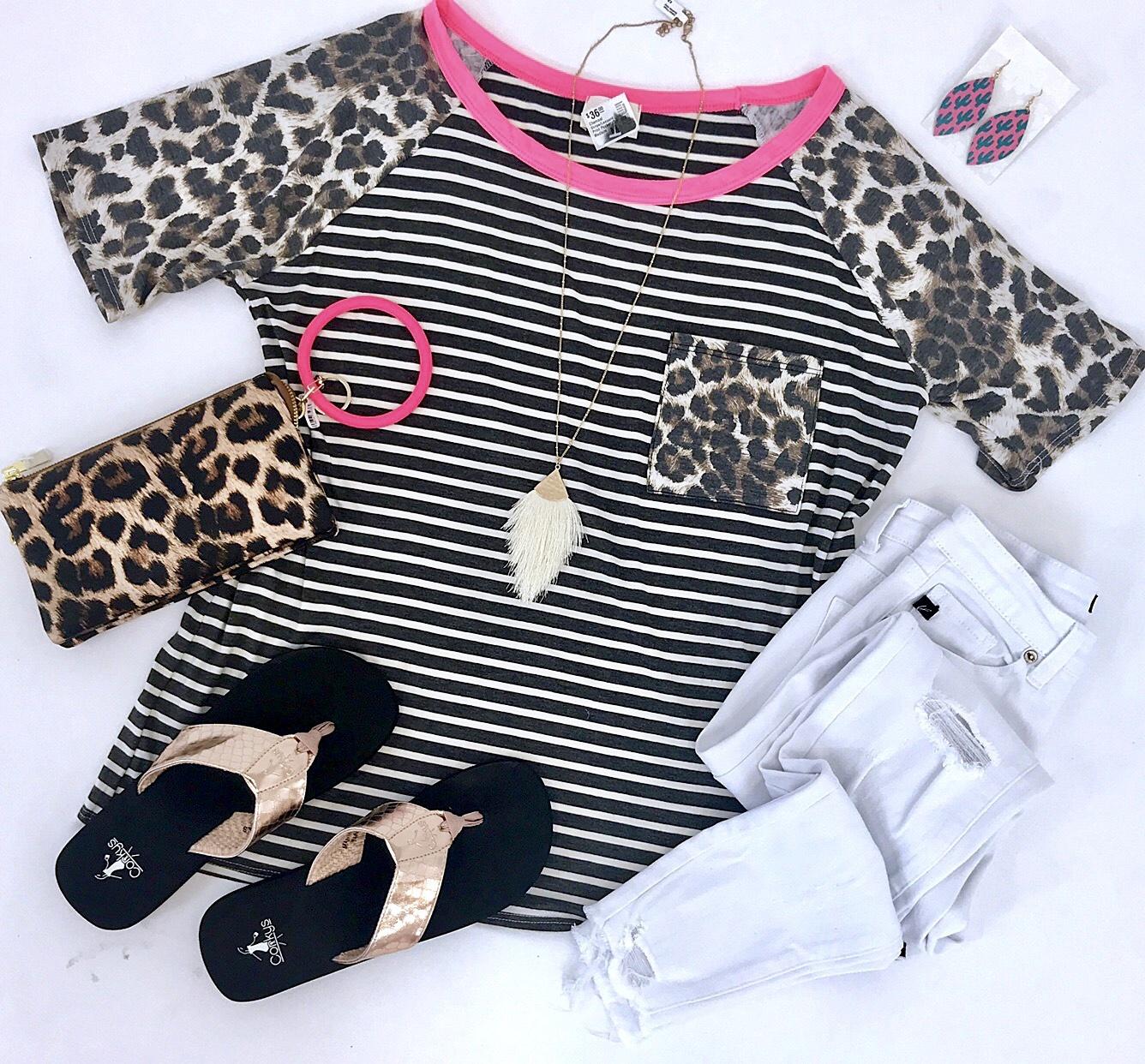 Pink Stripe/Leopard Print Pocket Top