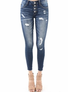 Kan Can Exposed Multi Button Skinny Jean