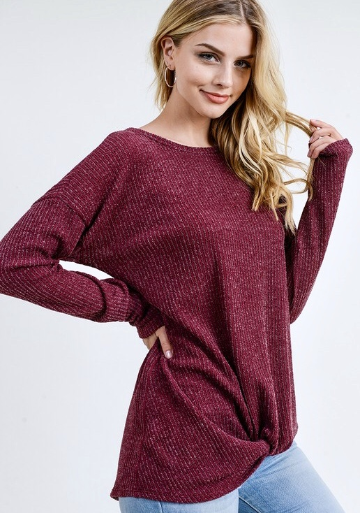 Wine Two Tone Ribbed Knit Top