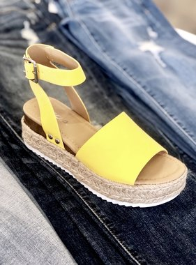 Yellow Platform Flats with Ankle Strap