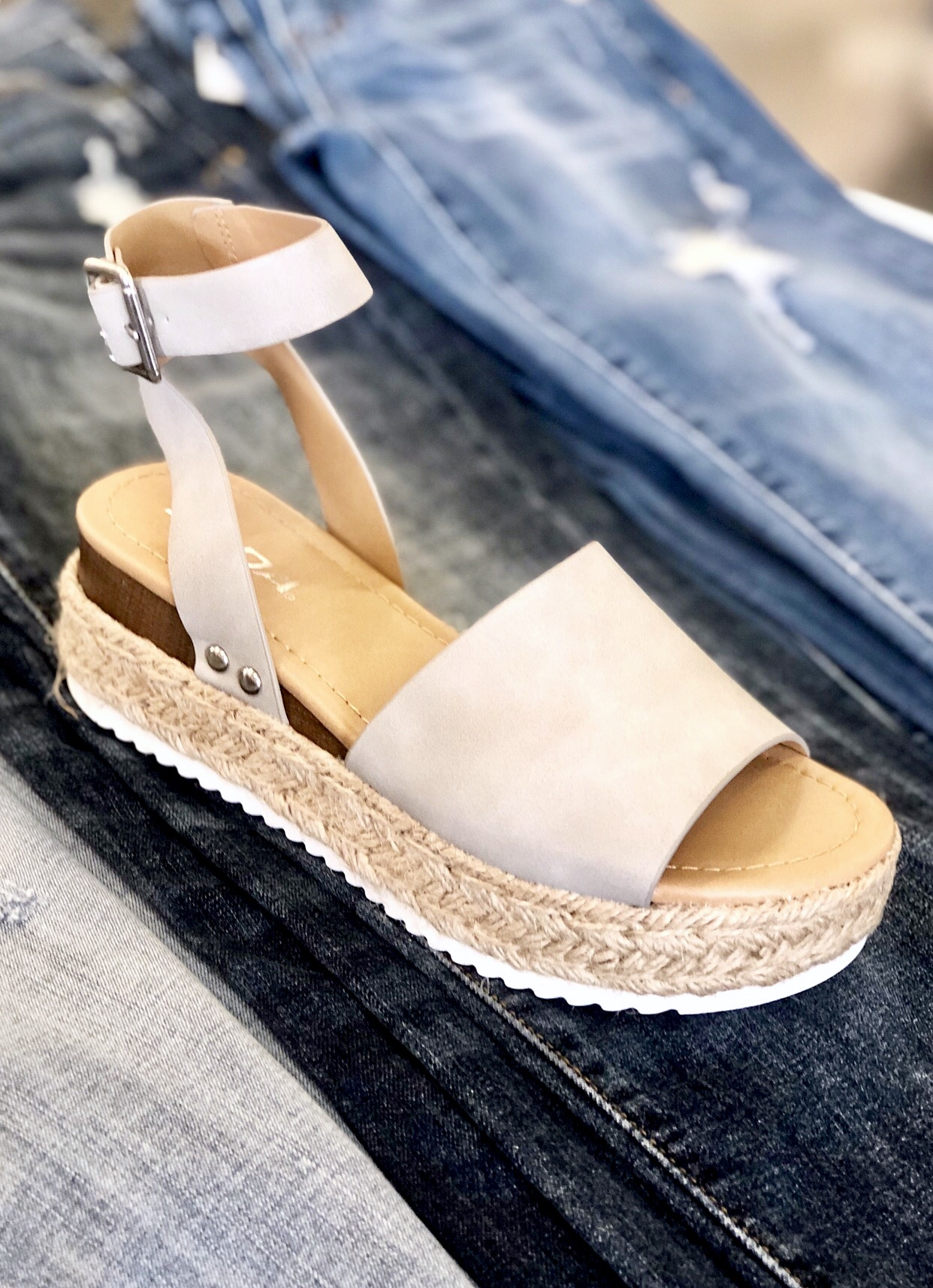 Grey Platform Flats with Ankle Strap
