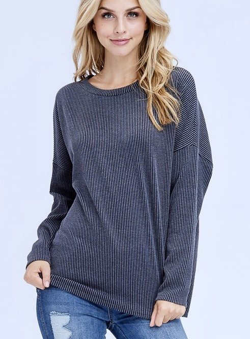 Charcoal Round Neck Ribbed Knit Sweater
