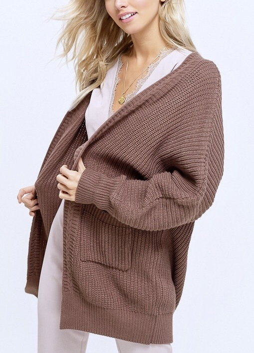 Ribbed Open Sweater Cardigan Mocha