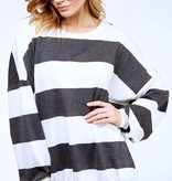 Chilly Nights Black and White Striped Sweater