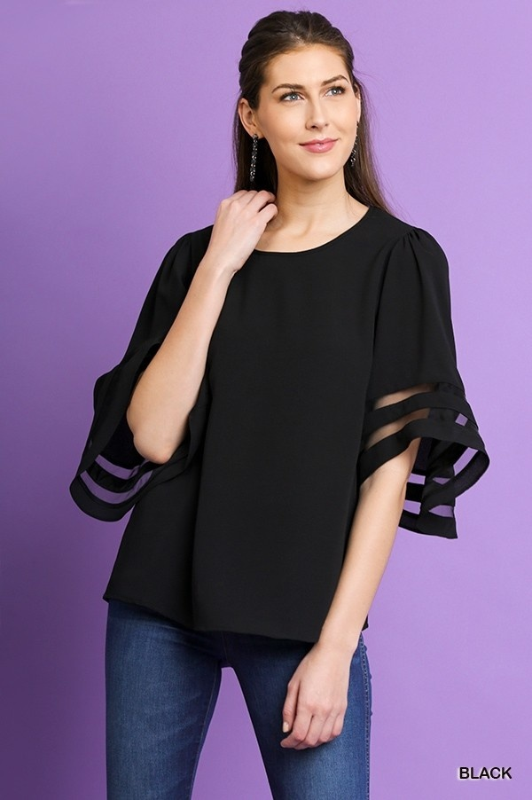 Black Mesh Burnout Sleeve Top