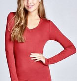Cardinal Red Long Sleeve Rayon Top