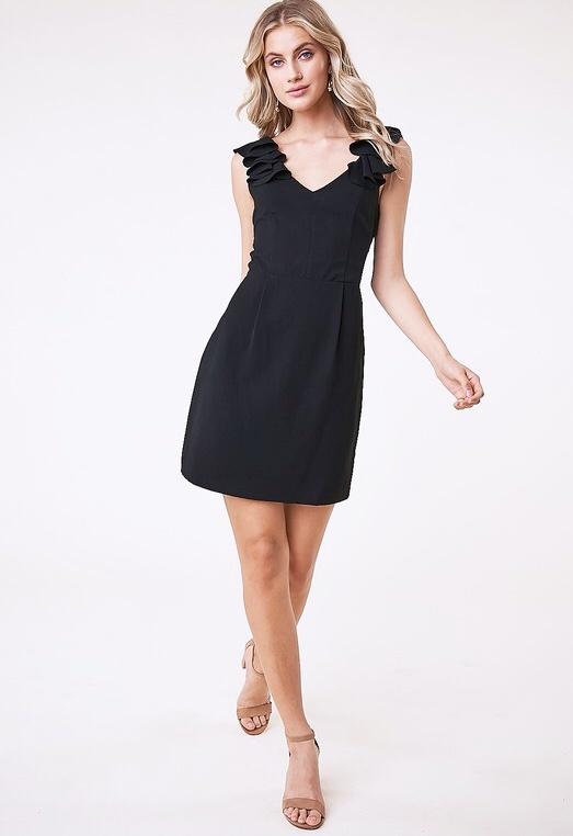 Black Ruffle Shoulder Bow-Tie Back Dress