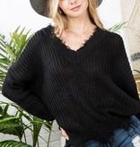 Black Distressed Knit Sweater