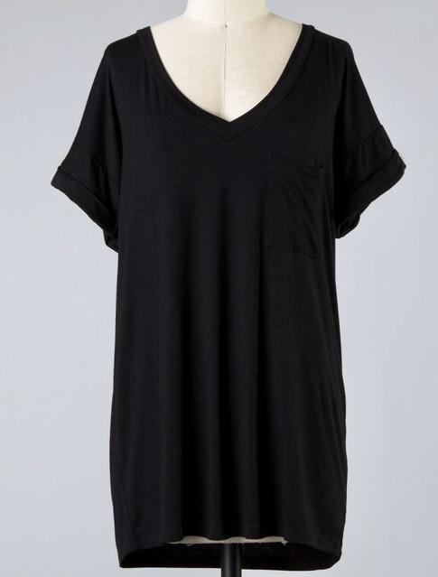 Black Folded Sleeve Pocket Tunic