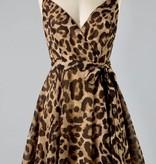 Brown Animal Print Sleeveless Waist-Tie Dress
